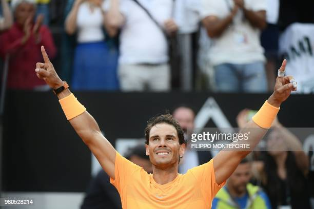 TOPSHOT Spain's Rafael Nadal celebrates after winning the Men's final against Germany's Alexander Zverev at Rome's ATP Tennis Open tournament at the...