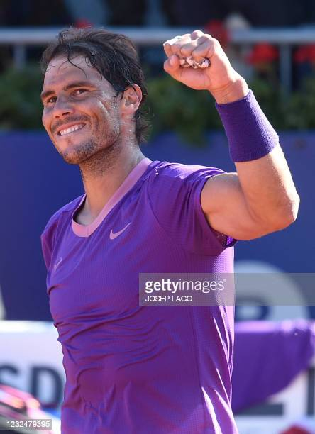 Spain's Rafael Nadal celebrates beating Great Britain's Cameron Norrie during their ATP Barcelona Open tennis tournament singles quarter-final match...