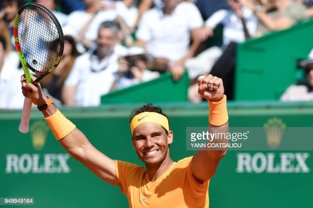 Spain's Rafael Nadal celebrates beating Japan's Kei Nishikori in their final match at the MonteCarlo ATP Masters Series tournament on April 22 in...