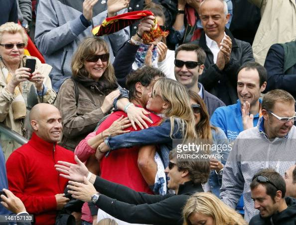 Spain's Rafael Nadal celebrates with his sister and his ...