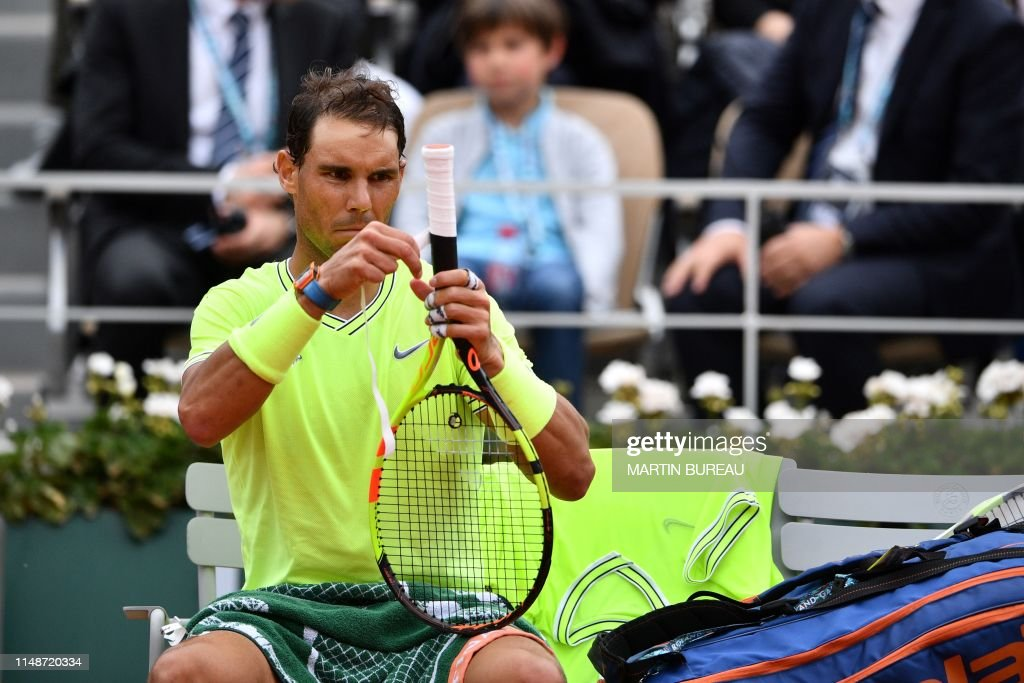Spain S Rafael Nadal Changes The Grip Of His Racket As He Plays News Photo Getty Images