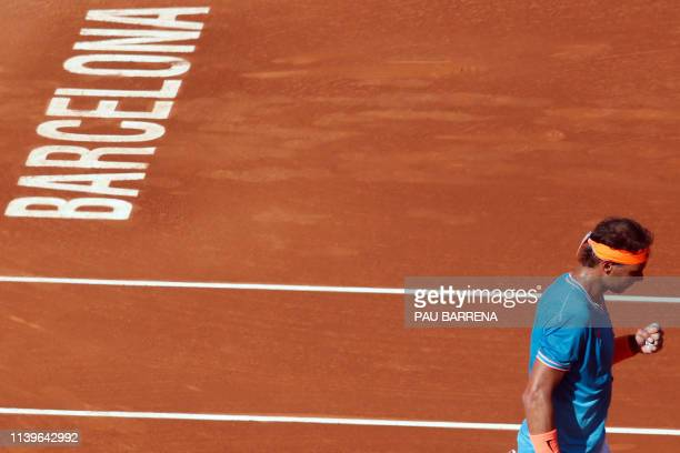 Spain's Rafael Nadal gestures during the ATP Tour Barcelona Open semi-final tennis match against Austria's Dominic Thiem in Barcelona on April 27,...