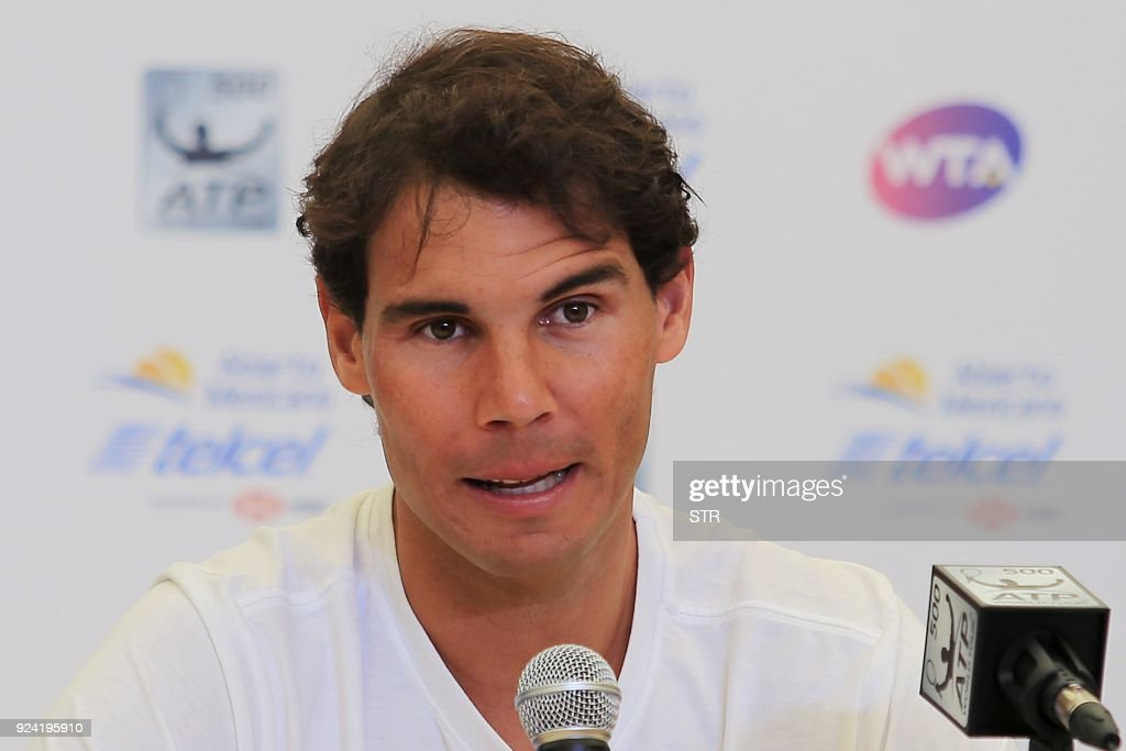Spain's Rafael Nadal gives a press conference the day before the start of the Mexico ATP 500 Tennis Open in Acapulco, Guerrero state, Mexico on February 25, 2018. /