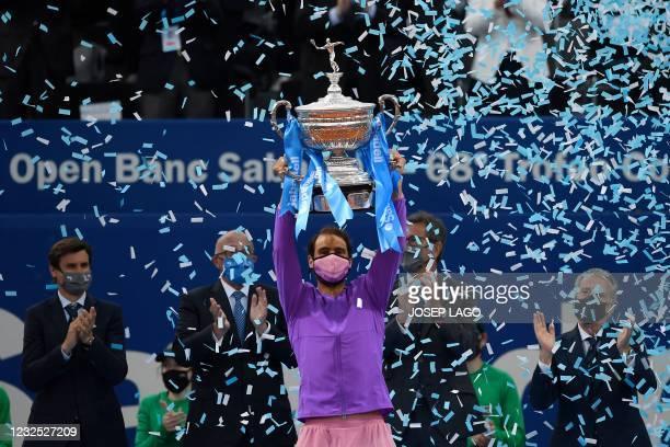 Spain's Rafael Nadal holds the trophy after winning the ATP Barcelona Open tennis tournament singles final match against Greece's Stefanos Tsitsipas...