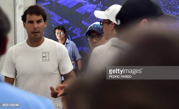 Spain's Rafael Nadal leaves after a press during the Mexico Open in Acapulco Guerrero state on February 27 2018 World number two Rafael Nadal pulled...