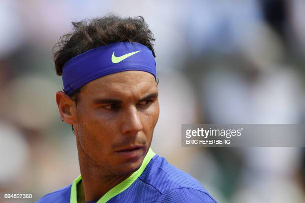 Spain's Rafael Nadal looks on during the men's final tennis match against Switzerland's Stanislas Wawrinka at the Roland Garros 2017 French Open on...