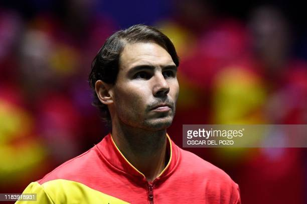 Spain's Rafael Nadal looks on prior to the singles quarter-final tennis match between Argentina and Spain at the Davis Cup Madrid Finals 2019 in...