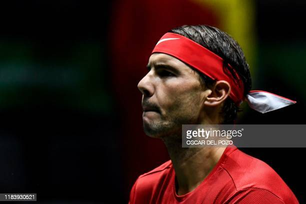 Spain's Rafael Nadal looks on prior to the singles quarter-final tennis match against Argentina's Diego Schwartzman at the Davis Cup Madrid Finals...