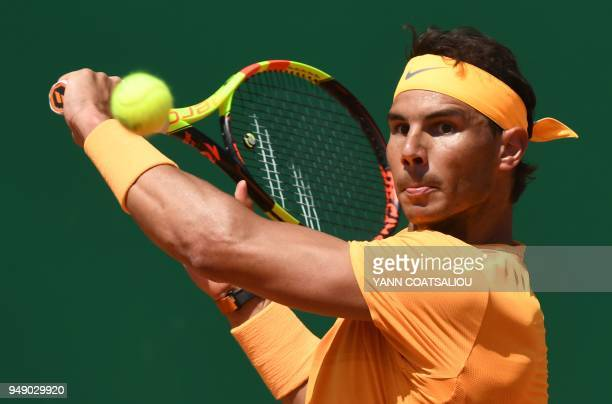 TOPSHOT Spain's Rafael Nadal plays a backhand return to Austria's Dominic Thiem during their singles tennis match at the MonteCarlo ATP Masters...