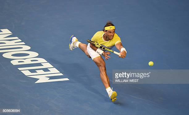 TOPSHOT Spain's Rafael Nadal plays a forehand return during his men's singles match against compatriot Fernando Verdasco on day two of the 2016...