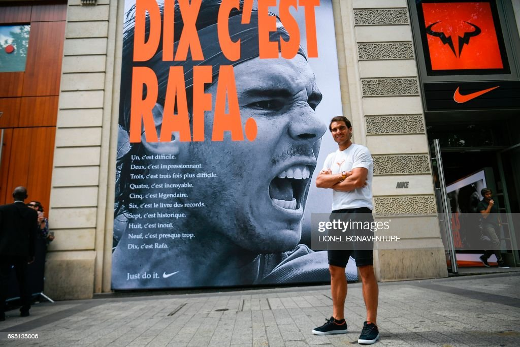 Spain S Rafael Nadal Poses By A Poster Reading Ten It S Rafa News Photo Getty Images