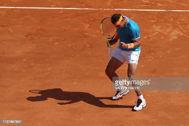 Spain's Rafael Nadal reacts a point agaisnt Bulgaria's Grigor Dimitrov during their tennis match on the day 6 of the MonteCarlo ATP Masters Series...