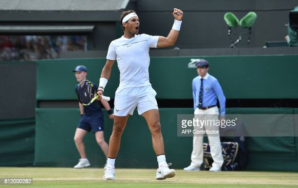 Spain's Rafael Nadal reacts after going 11 in the fifth set against Luxembourg's Gilles Muller during their men's singles fourth round match on the...