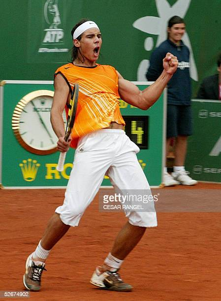 Spain's Rafael Nadal reacts after winning a point against Slovakia's Dominik Hrbaty during their ATP match at the Real Club in Barcelona 21 April...
