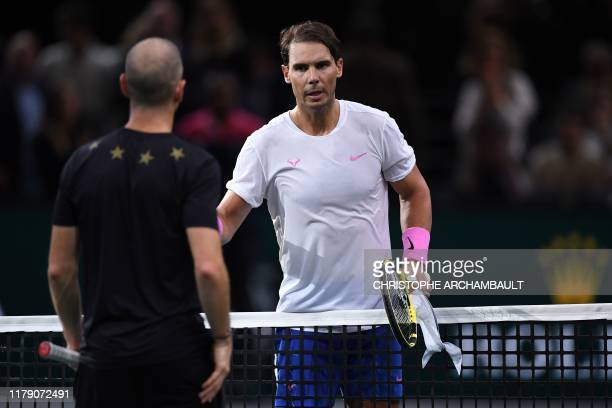 Spain's Rafael Nadal reacts after winning against France's Adrian Mannarino during their men's singles tennis match on day three of the ATP World...