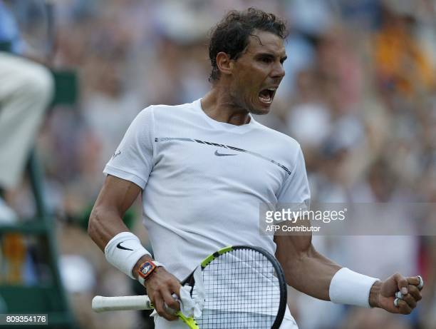 Spain's Rafael Nadal reacts after winning against US player Donald Young during their men's singles second round match on the third day of the 2017...