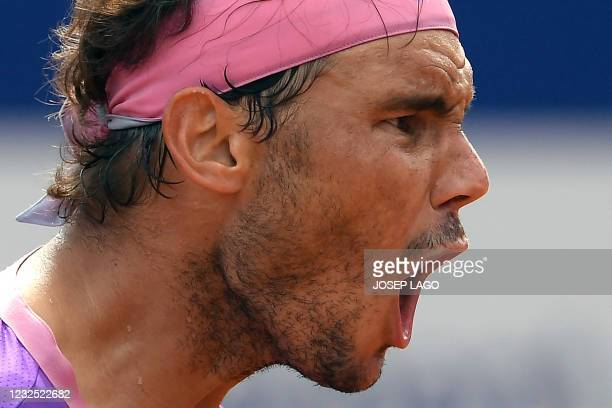 Spain's Rafael Nadal reacts during his ATP Barcelona Open tennis tournament singles final match against Greece's Stefanos Tsitsipas at the Real Club...