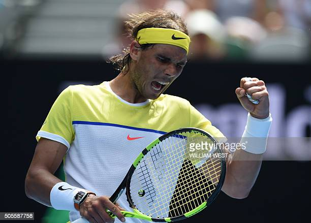 TOPSHOT Spain's Rafael Nadal reacts during his men's singles match against compatriot Fernando Verdasco on day two of the 2016 Australian Open tennis...