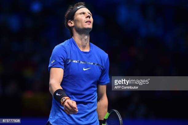 Spain's Rafael Nadal reacts during his singles match against Belgium's David Goffin on day two of the ATP World Tour Finals tennis tournament at the...
