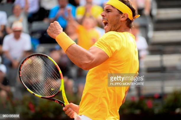 TOPSHOT Spain's Rafael Nadal reacts during the Men's final against Germany's Alexander Zverev at Rome's ATP Tennis Open tournament at the Foro...