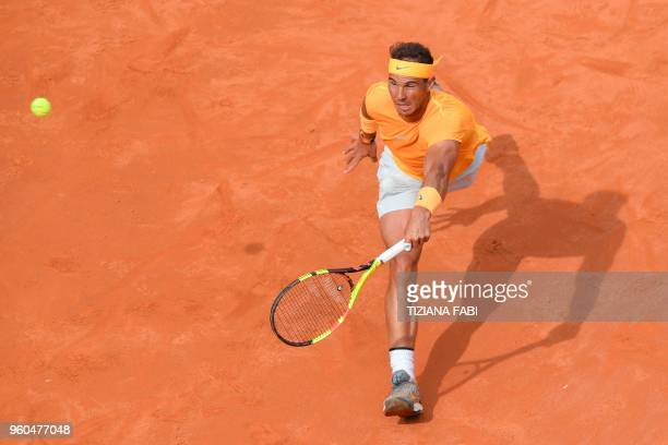 TOPSHOT Spain's Rafael Nadal returns the ball during the Men's final against Germany's Alexander Zverev at Rome's ATP Tennis Open tournament at the...