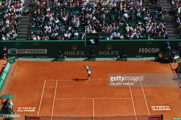 Spain's Rafael Nadal serves against Spain's Roberto Bautista Agut during their tennis match on the day 5 of the Monte-Carlo ATP Masters Series...