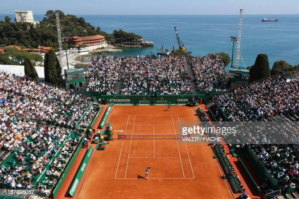 Spain's Rafael Nadal serves against Spain's Roberto Bautista Agut during their tennis match on the day 5 of the MonteCarlo ATP Masters Series...