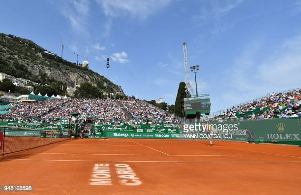 TOPSHOT Spain's Rafael Nadal serves to Aljaz Bedene of Slovenia during his tennis match at the MonteCarlo ATP Masters Series tournament on April 18...