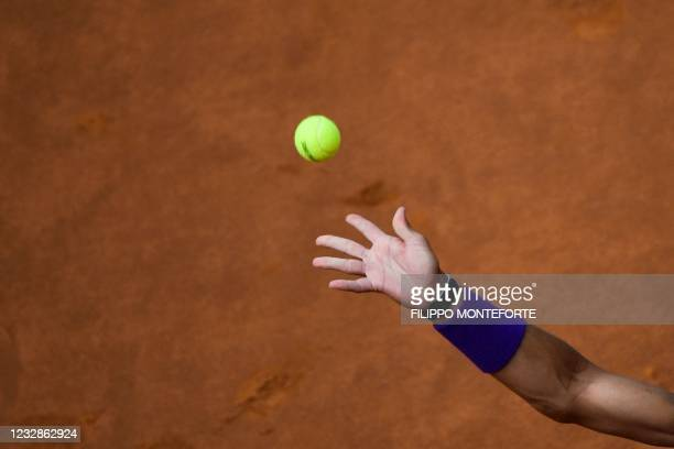 Spain's Rafael Nadal serves to Canada's Denis Shapovalov during their match of the Men's Italian Open at Foro Italico on May 13, 2021 in Rome, Italy.