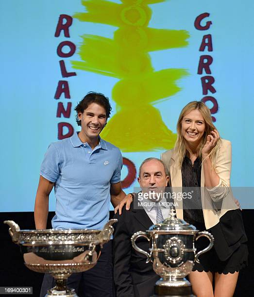 Spain's Rafael Nadal seventime champion of the French tennis Open and Russia's Maria Sharapova twotime winner and the world number two pose with...