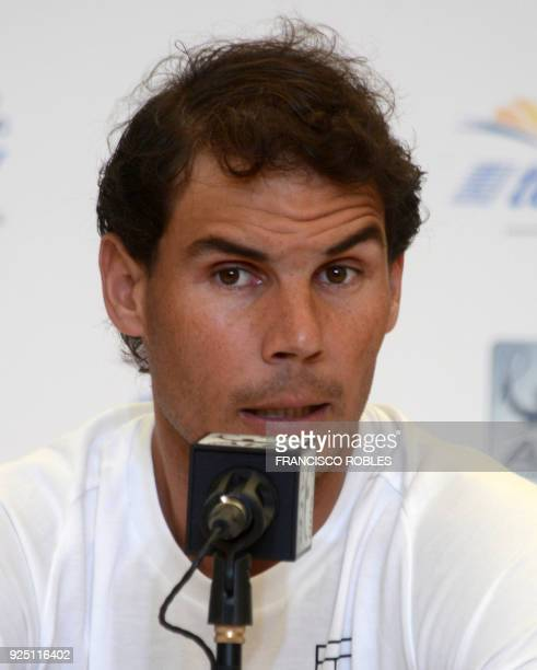Spain's Rafael Nadal speaks to the press during the Mexico Open in Acapulco Guerrero state on February 27 2018 World number two Rafael Nadal pulled...