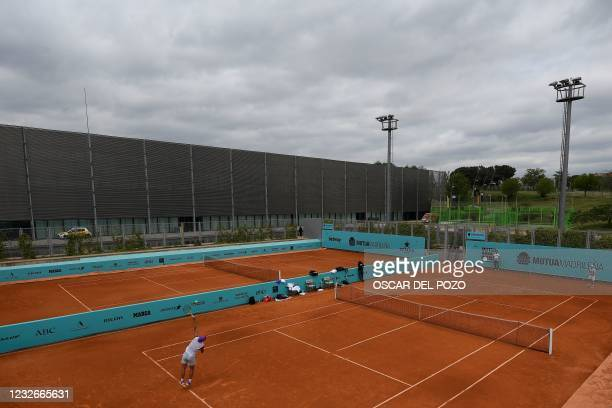 Spain's Rafael Nadal trains during the 2021 ATP Tour Madrid Open tennis tournament at the Caja Magica in Madrid on May 3, 2021.