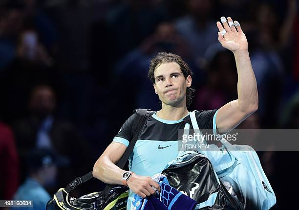 Spain's Rafael Nadal waves goodbye after being beaten by Serbia's Novak Djokovic in the men's singles semifinal match on day seven of the ATP World...