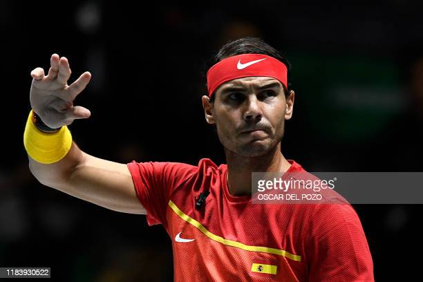 Spain's Rafael Nadal waves prior to the singles quarterfinal tennis match against Argentina's Diego Schwartzman at the Davis Cup Madrid Finals 2019...