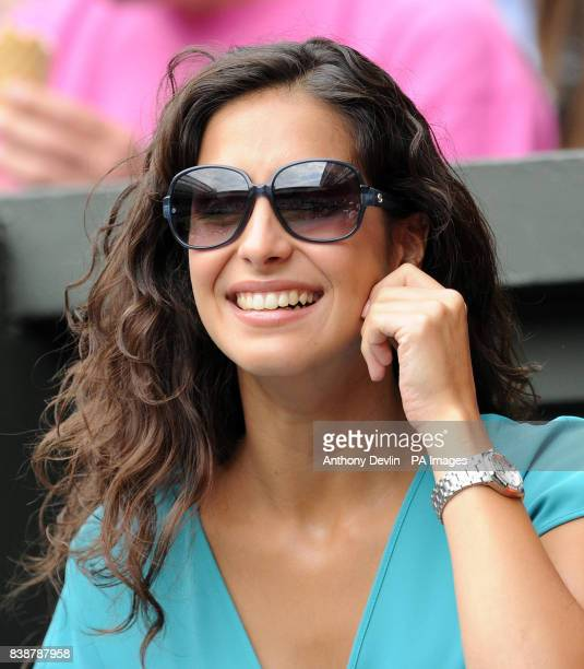 Spain's Rafael Nadal's girlfriend Maria Perello watches him on Centre Court in the Mens' Final against Serbia's Novak Djokovic during day thirteen of...