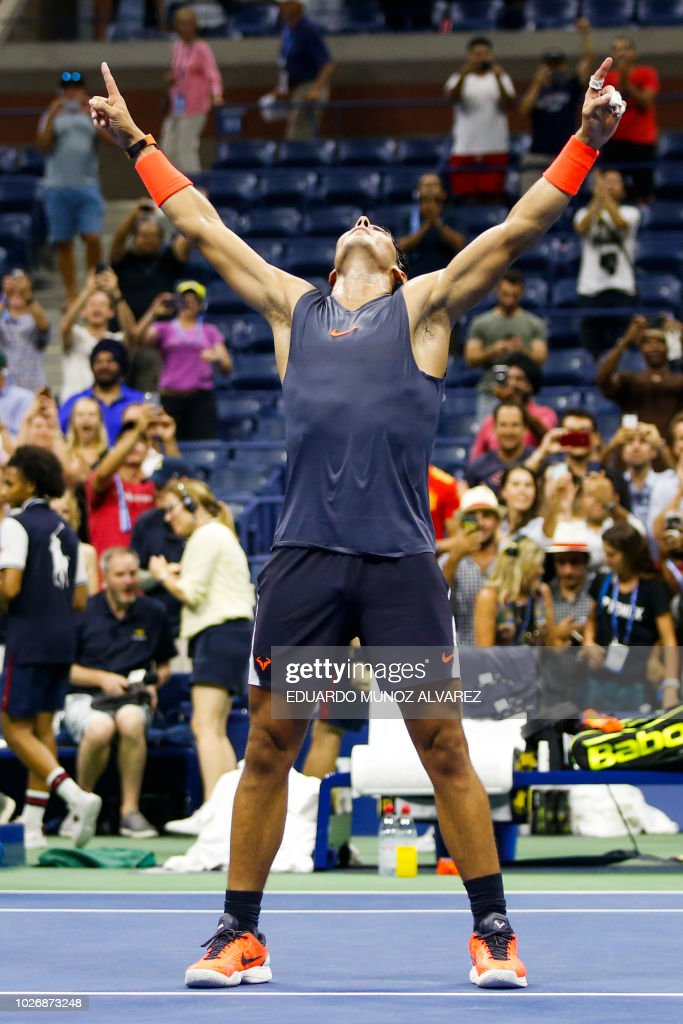 Spain's RafaelNadal celebrates after defeating Austria's DominicThiem during their Men's Singles Quarter-Finals match at the 2018 US Open at the USTA Billie Jean King National Tennis Center in New York on September 5, 2018. - Defending champion Rafael Nadal survived an epic US Open quarter-final confrontation to defeat battling ninth seed Dominic Thiem 0-6, 6-4, 7-5, 6-7 (4/7), 7-6 (7/5) and reach the semi-finals for the seventh time.