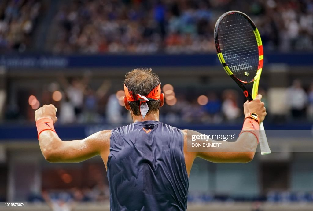 Spain's RafaelNadal celebrates match point against Austria's DominicThiem during their Men's Singles Quarter-Finals match at the 2018 US Open at the USTA Billie Jean King National Tennis Center in New York on September 5, 2018. - Defending champion Rafael Nadal survived an epic US Open quarter-final confrontation to defeat battling ninth seed Dominic Thiem 0-6, 6-4, 7-5, 6-7 (4/7), 7-6 (7/5) and reach the semi-finals for the seventh time.