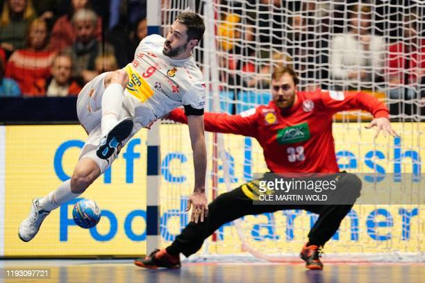 Spain´s Raul Entrerrios Rodriguez has an attemp on Germany´s goalkeeper Andreas Wolff's goal during the match Spain vs Germany of the Men´s Handball...