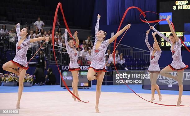 Spain's rhythmic gymnasts Loreto Achaerandid Sandra Agular Sara Garvin Ana Maria Pelaz Alejandra Quereda and Lidia Redondo perform with ribbons and...