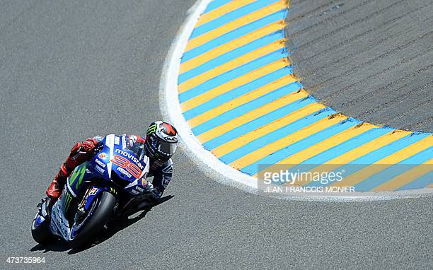 Spain's rider Jorge Lorenzo competes on his Movistar Yamaha MOTOGP N°99 during the MotoGP race of the French motorcycling Grand Prix on May 17 2015...