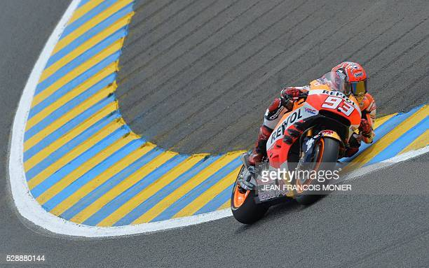 Spain's rider Marc Marquez competes on his Repsol Honda N93 and clocked the second position during the qualifying cession of the MotoGP ahead of the...