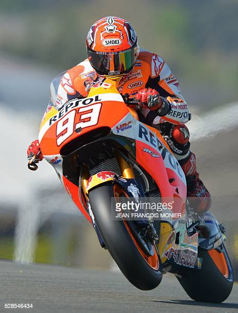 Spain's rider Marc Marquez competes on his Repsol Honda N��93 during a motoGP free practice session ahead of the French motorcycling Grand Prix on...