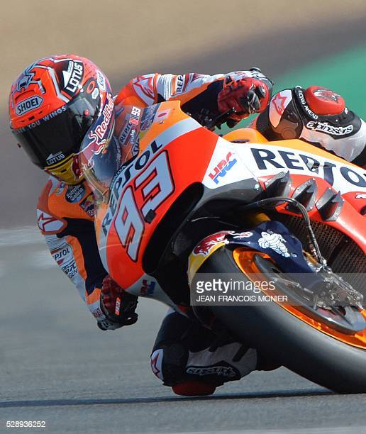 Spain's rider Marc Marquez competes on his Repsol Honda N��93 during a motoGP qualifying practice session ahead of the French motorcycling Grand Prix...