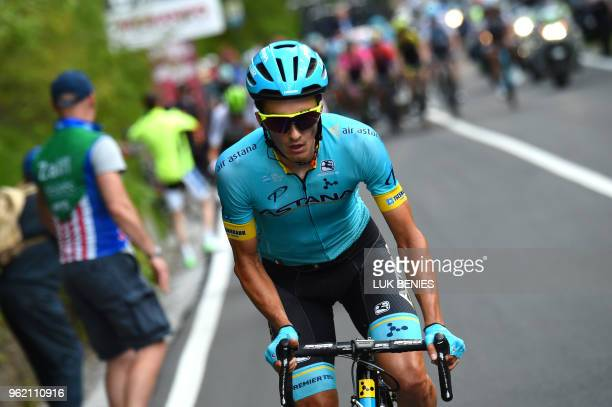 Spain's rider of team Astana Pello Bilbao rides during the 18th stage between Abbiategrasso and Prato Nevoso during the 101st Giro d'Italia Tour of...