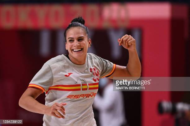 Spain's right back Almudena Maria Rodriguez Rodriguez celebrates after scoring during the women's preliminary round group B handball match between...