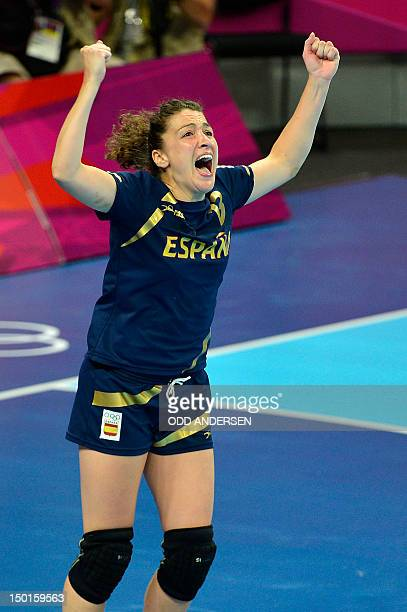 Spain's rightwing Jessica Alonso Bernardo celebrates at the end of the women's bronze medal handball match South Korea vs Spain for the London 2012...