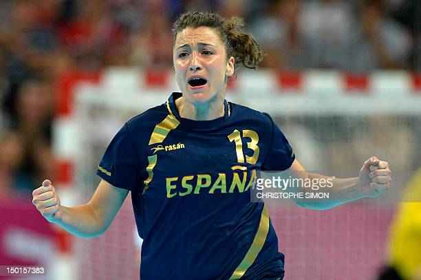 Spain's rightwing Jessica Alonso Bernardo reacts during the women's bronze medal handball match South Korea vs Spain for the London 2012 Olympics...