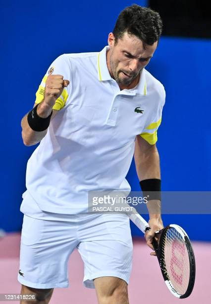 Spain's Roberto Bautista Agut reacts after winning his singles semi-final tennis match against Germany's Peter Gojowczyk during the Open Sud de...