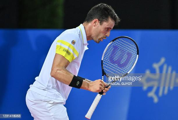Spain's Roberto Bautista Agut reacts during his singles semi-final tennis match against Germany's Peter Gojowczyk at the Open Sud de France ATP World...