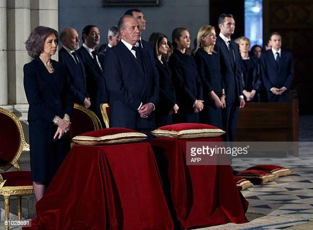 Spain's Royal Family Queen Sofia King Juan Carlos Prince Felipe his wife Princess Letizia Princess Elena Princess Cristina and her husband Inaki...